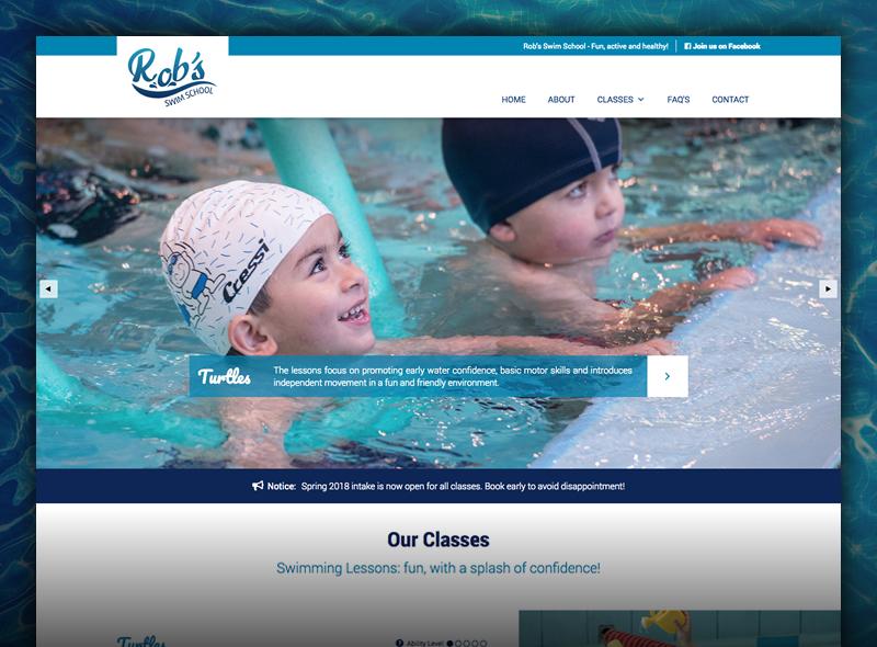 Robs Swim School - Custom Website Design & Development