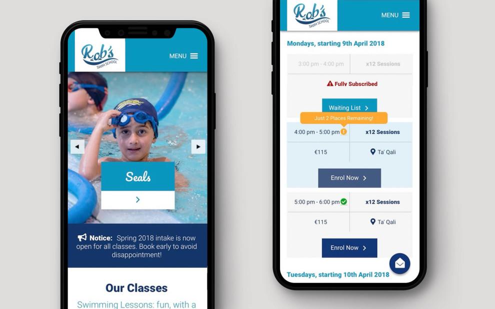 Robs Swim School - Responsive Web Development