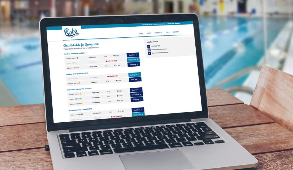 Rob's Swim School - Custom Made Registration System