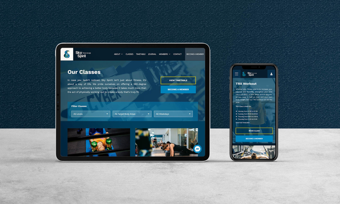 Sky Spirit Fitness Lounge - Web Design and DevelopmentMix